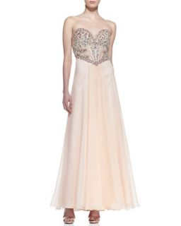 Womens Strapless Beaded & Sequined Bodice Gown, Blush   Faviana   Blush (2)