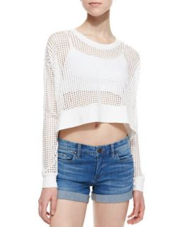Womens Long Sleeve Mesh Strands Crop Top, White   Townsen   White (LARGE)