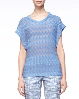 Womens Leaf Knit Short Sleeve Sweater, Blue   Missoni   Blue (38/4)