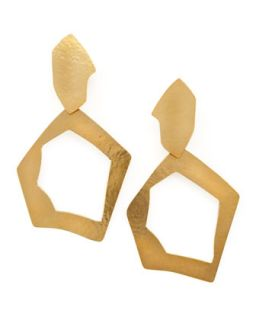 Gold Open Circle Earrings   Herve Van Der Straeten   Gold