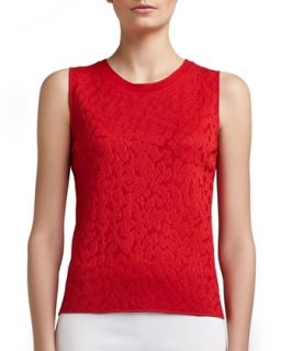 Womens Mixed Animal Jacquard Knit Jewel Neck Shell   St. John Collection