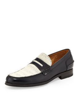 Mens Konrad Woven Leather Loafer, Navy/White   Paul Smith   Navy/White (9.5/10.