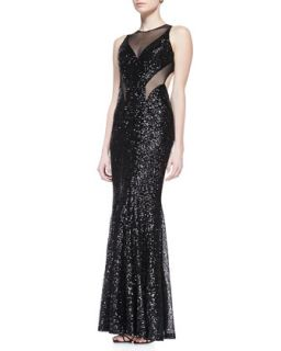 Womens Sleeveless Sequined Mesh Gown with Cutout Back, Black   Faviana   Black