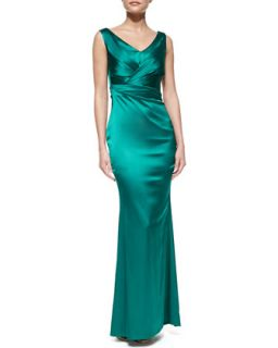 Womens Sleeveless Pleated Bodice Gown   Talbot Runhof   Teal (10)