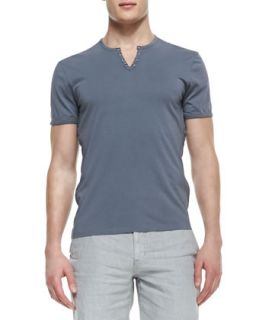 Mens Split Neck Short Sleeve Tee, Dark Gray   Star USA   Dark gray (XXL)