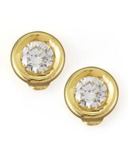 18k Yellow Gold Diamond Solitaire Stud Earrings   Roberto Coin   Gold (18k )