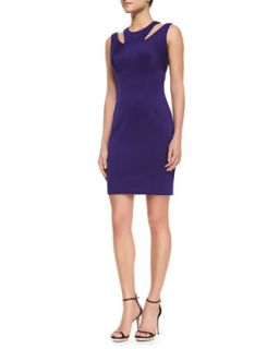 Womens Cutout Shoulder Stretch Fitted Dress   Milly   Cobalt (0)