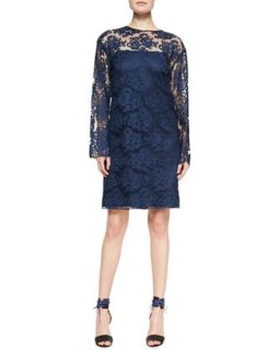 Womens Long Sleeve Lace Dress, Marine   Adam Lippes   Marine (4)