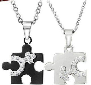 Two Tone Stainless Steel Couples Jigsaw Puzzle Love Rhinestone Crystals Necklace Pendant Set (His and Hers) Women's Men's Fashion Jewelry (FREE CHAINS INCLUDED) Jewelry