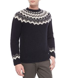 Mens Nordic Hand Knitted Sweater, Coastal Navy   Vince   Coastal (MEDIUM)