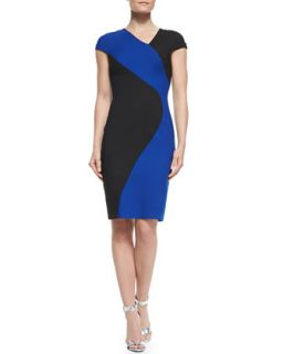 Womens Colby Colorblocked Sheath Dress   Black Halo   Dragonfly blu/Blk (2)