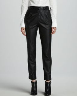 Womens Phoenix Slouchy Cropped Leather Pants   Rachel Zoe   Black (2)