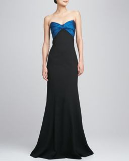 Womens Strapless Ruched Bodice Gown   David Meister   Black/Teal (14)