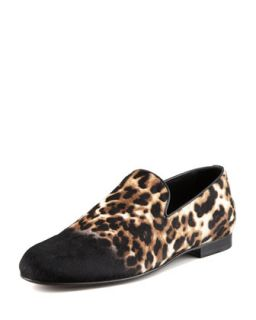 Mens Ombre Leopard Print Calf Hair Slipper   Jimmy Choo   Black mix (43/10D)