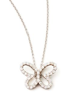 18k White Gold Diamond Butterfly Pendant Necklace   Roberto Coin   White gold