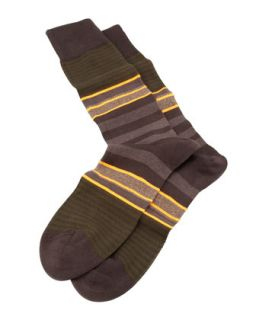 Twisted Stripe Mens Socks, Brown   Paul Smith   Brown