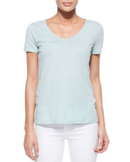 Womens V Neck Short Sleeve Tee   Three Dots   Blue tint (X SMALL)