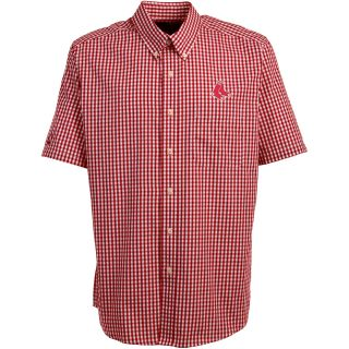 Antigua Boston Red Sox Mens Scholar Button Down Short Sleeve Shirt   Size