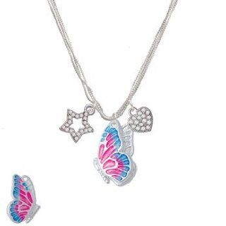 Large Translucent Hot Pink & Blue Flying Butterfly LuckyStar Silver Necklace Pendant Necklaces Jewelry