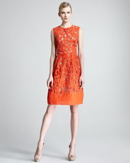 Womens Etched Cutout Sheath Dress   Lela Rose   Blood orange (8)