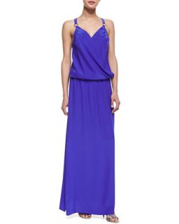 Womens Draped Ring Looped Maxi Dress, Royal   Amanda Uprichard   Purple