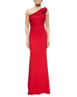 Womens Draped One Shoulder Column Gown   Badgley Mischka Collection   Red (12)