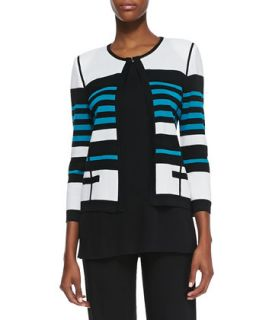 Womens Stripe Detail Open Front Jacket   Misook   Pea/Black/White (X LARGE