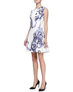 Womens Printed Seamed Drop Waist Dress   Lela Rose   Ivory/Ink (6)