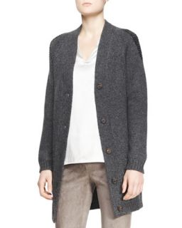 Womens Long Boyfriend Patch Pocket Cashmere Cardigan   Brunello Cucinelli