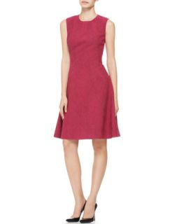 Womens Printed Seamed Drop Waist Dress   Lela Rose   Fuchsia (6)
