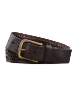 Mens Horton Braided Leather Belt, Brown   Robert Graham   Brown (34)