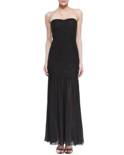 Womens Strapless Lace Mermaid Gown, Black   Aidan Mattox   Black (12)