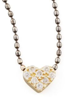 Two Tone Diamond Heart Pendant Necklace   Sydney Evan   Charcoal