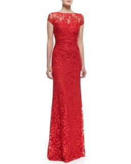 Womens Short Sleeve Ruched Waist Lace Gown, Red   David Meister   Red (8)