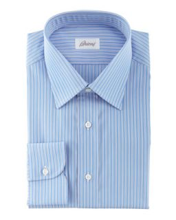 Mens Track Striped Dress Shirt, Blue   Brioni   Blue (15 1/2L)