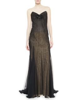 Womens Strapless Starburst Beaded Gown, Black   Donna Karan   Black (6)