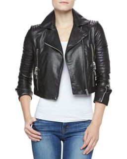 Womens Aiah Cropped Leather Jacket   J Brand Ready to Wear   Black (LARGE)