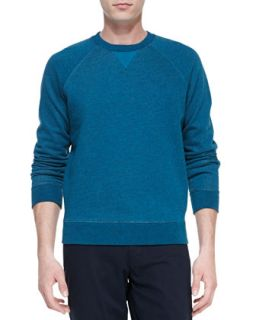 Mens Long Sleeve Crewneck Sweatshirt, Teal   Vince   Teal (X LARGE)