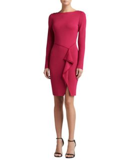 Womens Milano Knit Bateau Neck Long Sleeve Draped Dress   St. John Collection