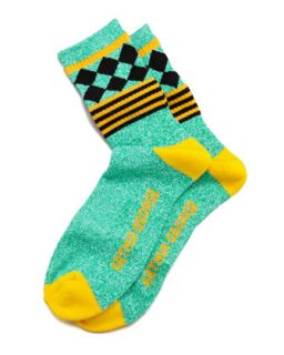 Jester Mens Socks, Green/Yellow   Arthur George by Robert Kardashian   Green