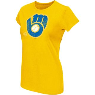 G III Womens Milwaukee Brewers Cooperstown Logo Short Sleeve T Shirt   Size L,