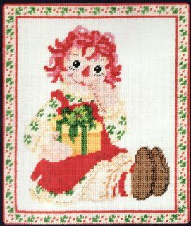 Christmas Holiday Raggedy Ann Needlepoint Canvas