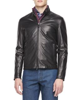 Mens Leather Moto Jacket, Black   Ermenegildo Zegna   Black (52)