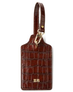 Crocodile Embossed Luggage Tag   Abas   Tan