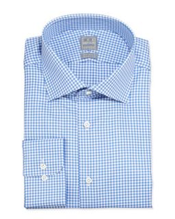Mens Long Sleeve Gingham Dress Shirt, Blue Topaz   Ike Behar   Blue (17 1/2L)