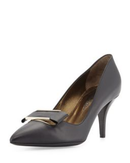 Leather Point Toe Buckle Pump, Black   Lanvin   Black (38.5B/8.5B)