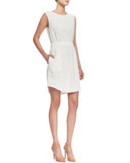 Womens Crunch Sleeveless Easy Waist Dress   Theory   Ivory (PETITE)