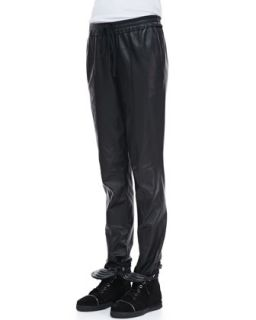 Womens Tony Drawstring Leather Pants   A.L.C.   Black (X SMALL)