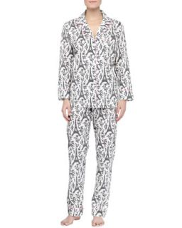 Womens Eiffel Tower Print Knit Pajamas, Black/Cream   Bedhead   Black & cream