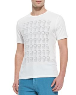 Mens Skull Print Short Sleeve Tee, White   Star USA   White (LARGE)